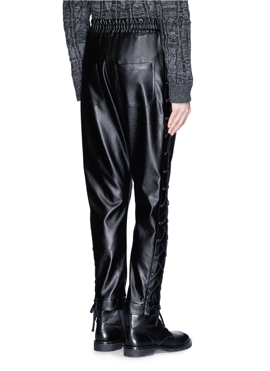 9e656288bf3d Lyst - Faith Connexion Lace-up Side Faux Leather Pants in Black for Men