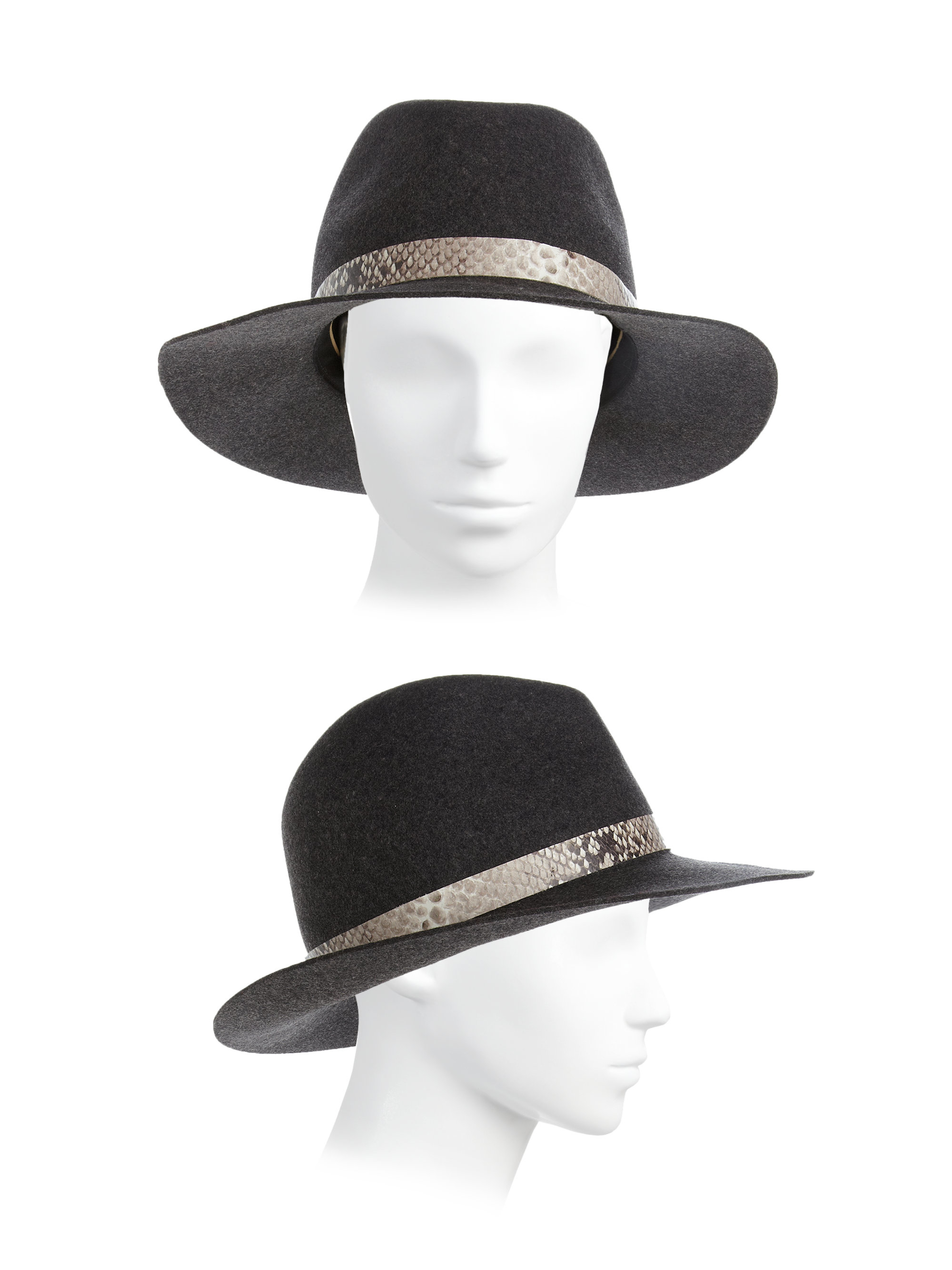 Lyst - Rag   Bone Python-embossed Band Wool Fedora in Gray d30c1325171f