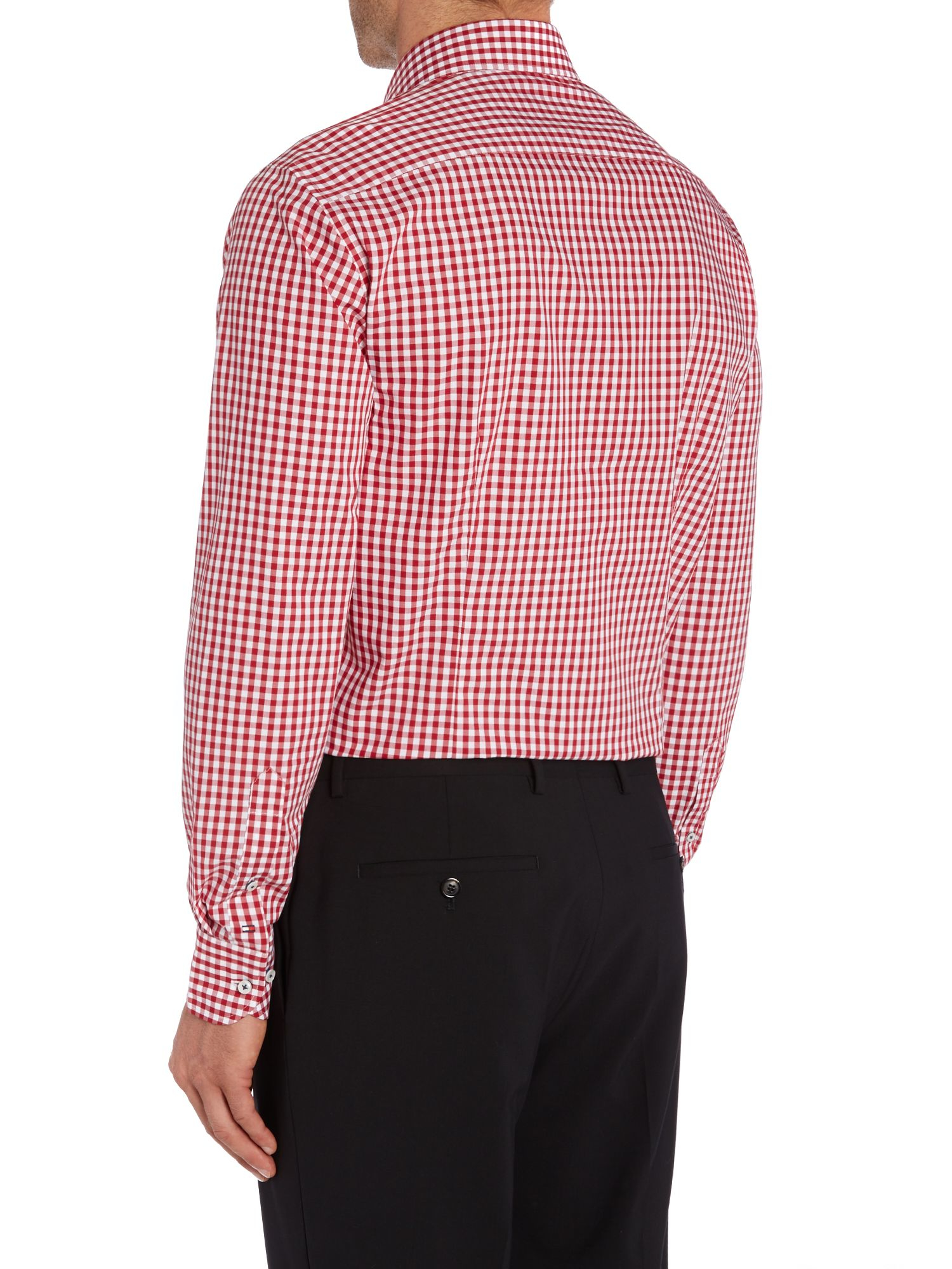Tommy Hilfiger Slim Fit Gingham Shirt In Red For Men Lyst
