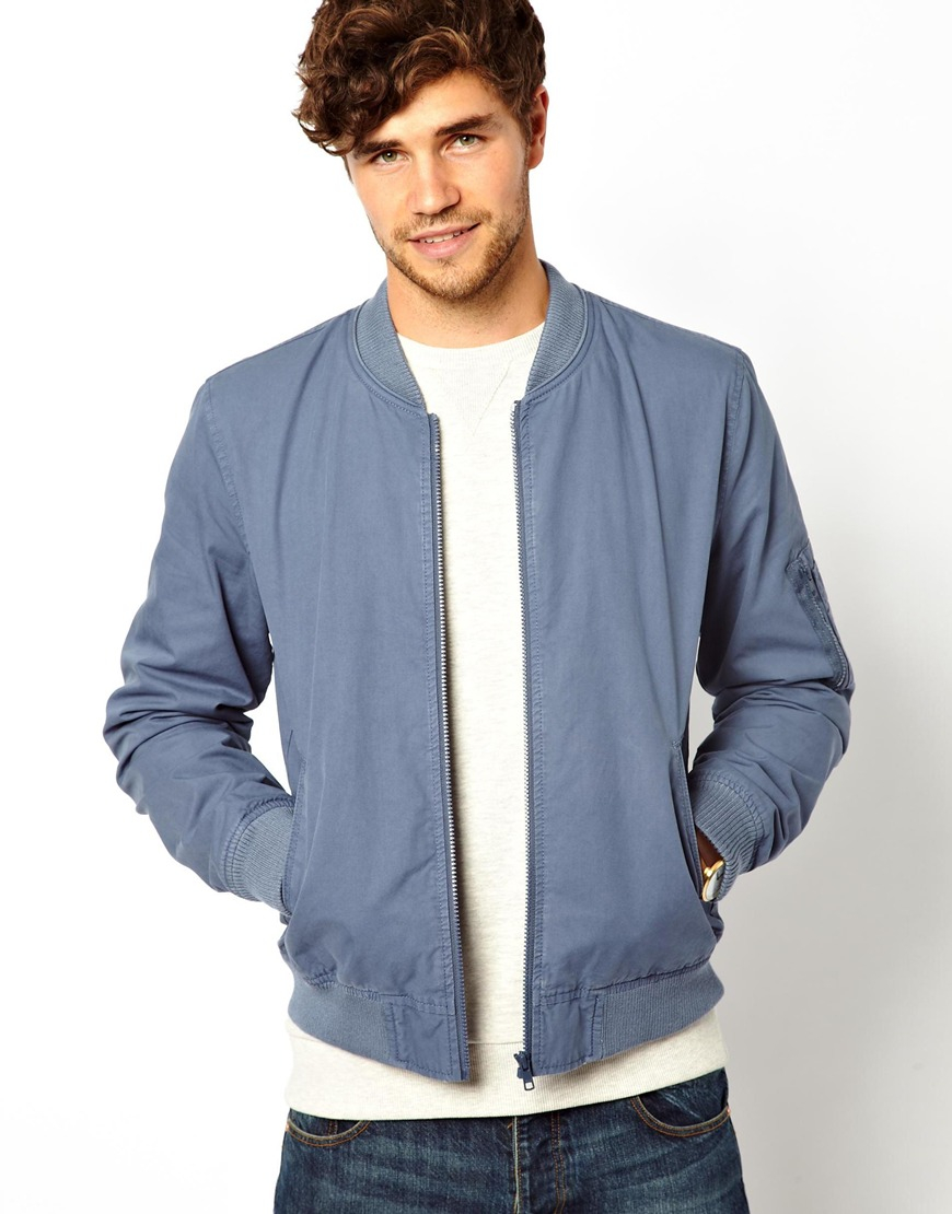 Asos Bomber Jacket in Blue for Men | Lyst