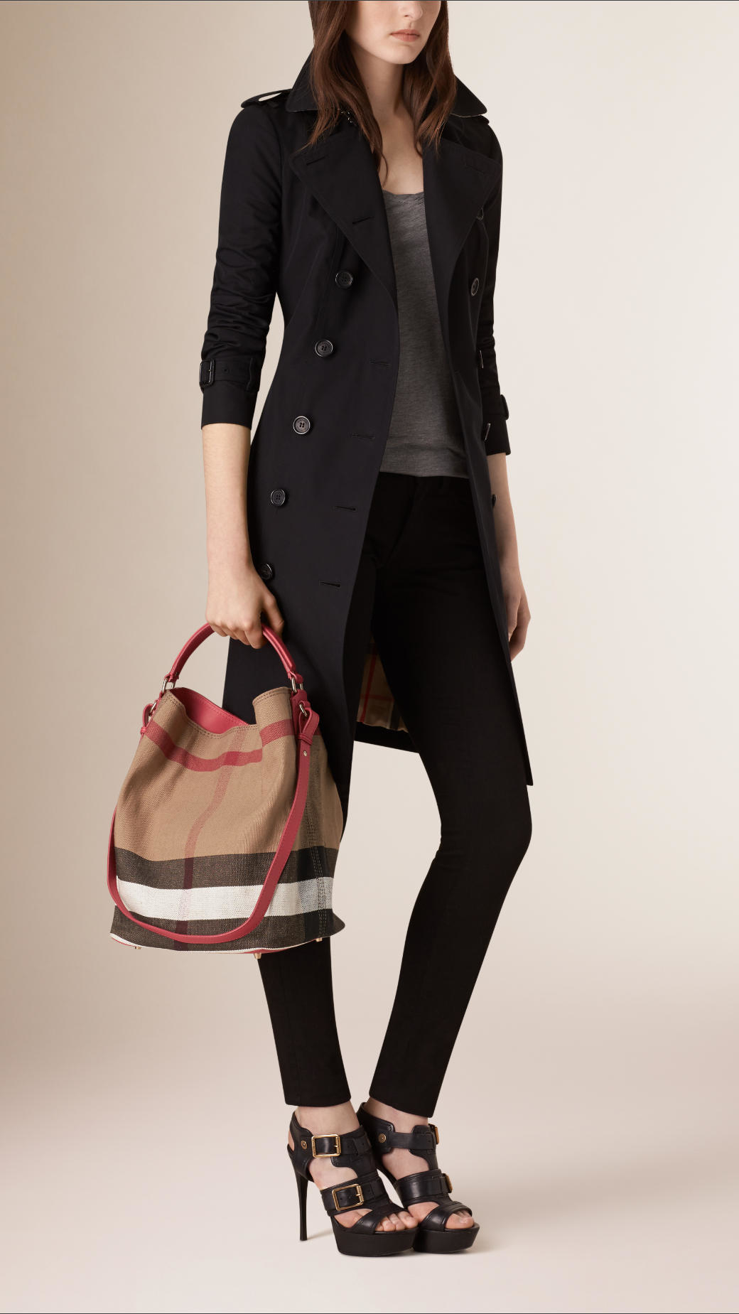 Lyst Burberry The Medium Ashby Canvas Check And Leather