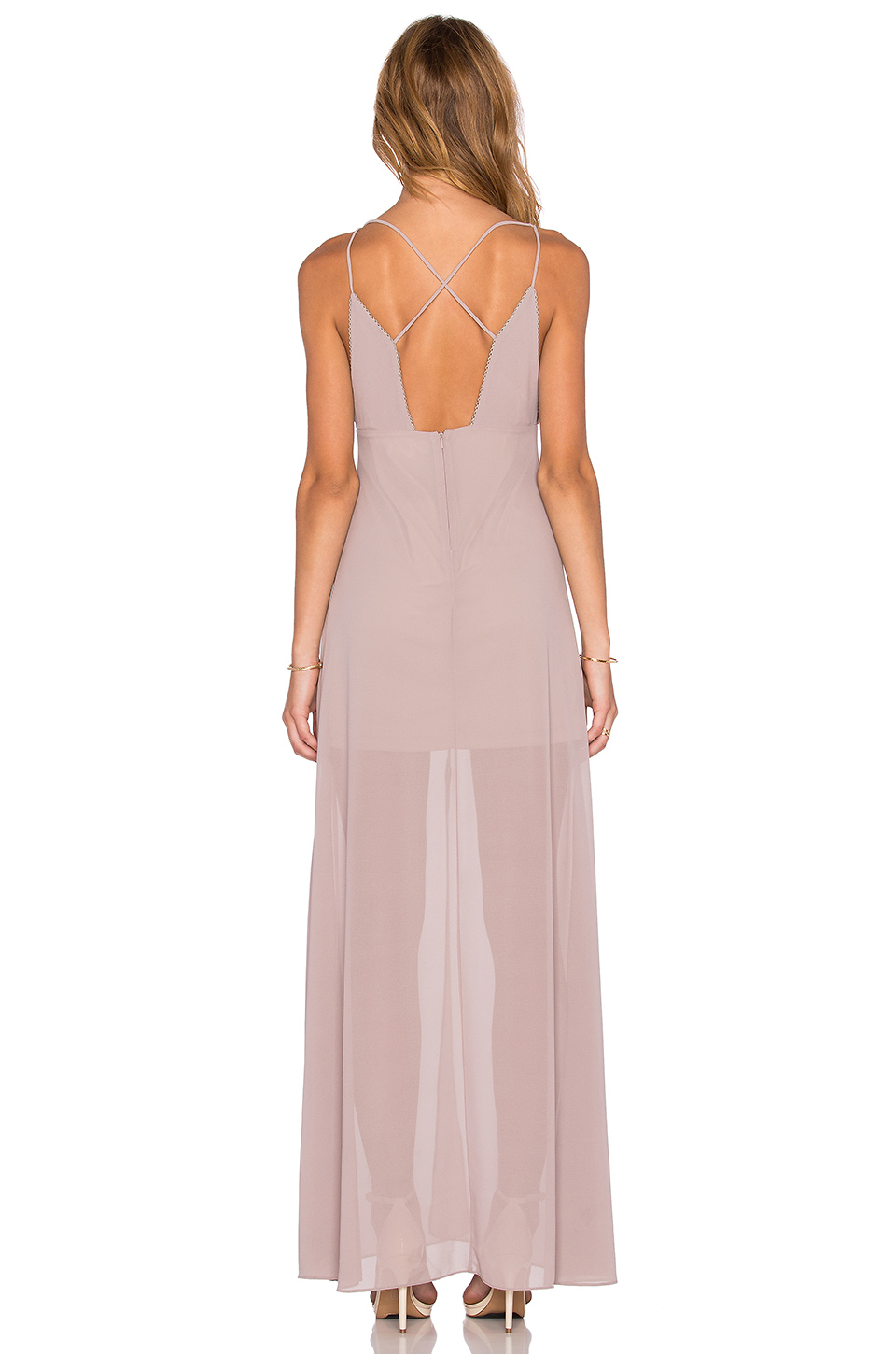 Lyst - Wyldr Stay With Me Plunge Maxi Dress in Pink 23ad60144