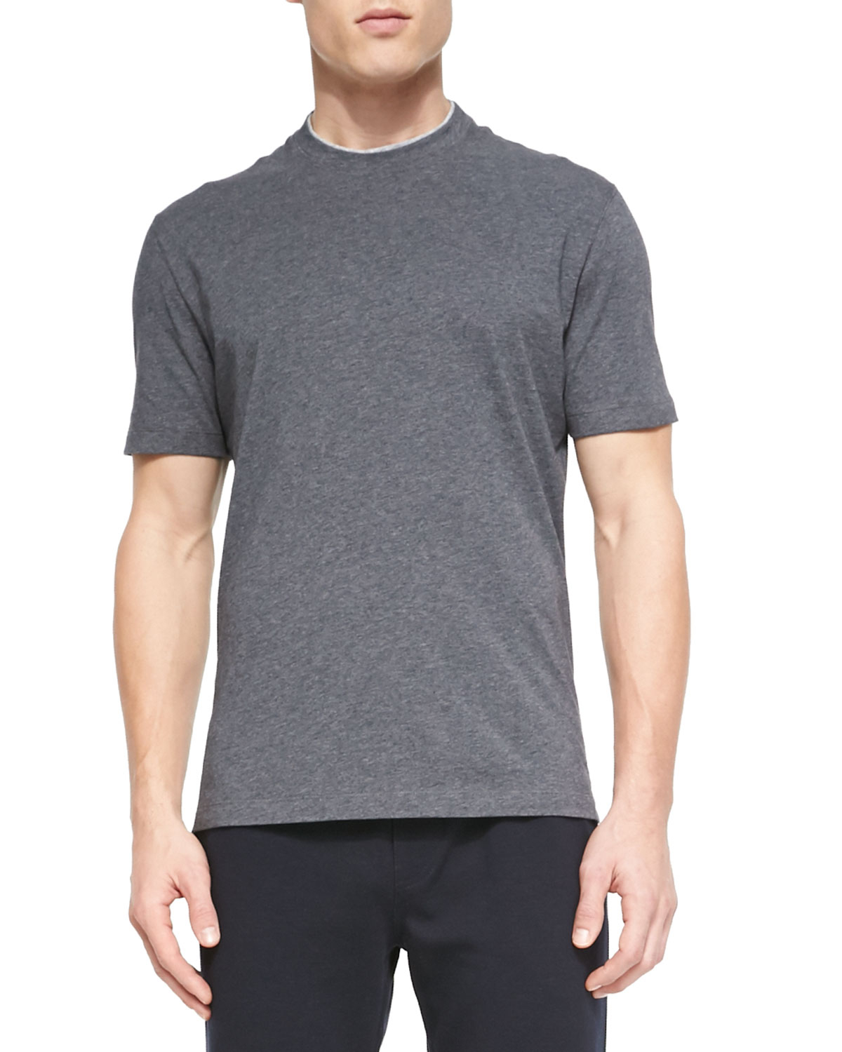 brunello cucinelli cotton crewneck t shirt in gray for men