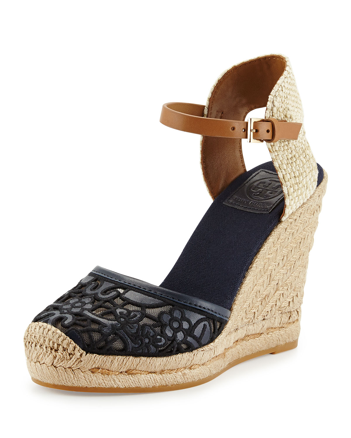 fe743c61a0db Lyst - Tory Burch Lucia Lace Wedge Espadrille in Black