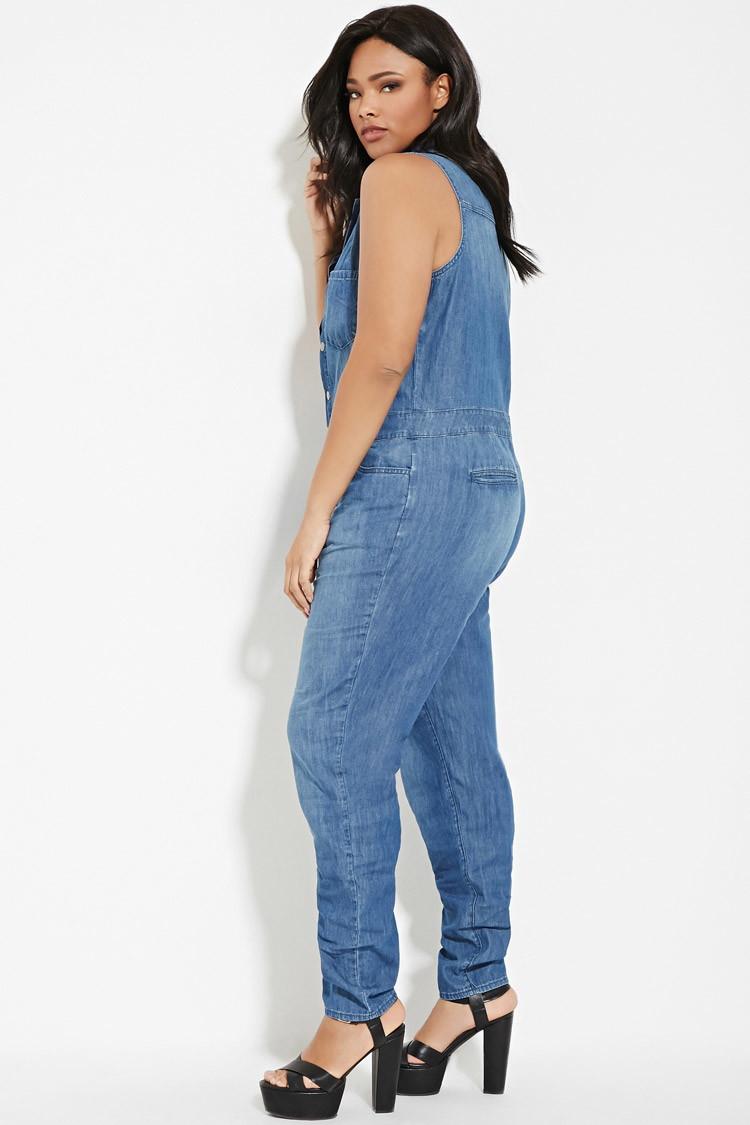 forever 21 plus size denim jumpsuit in blue | lyst