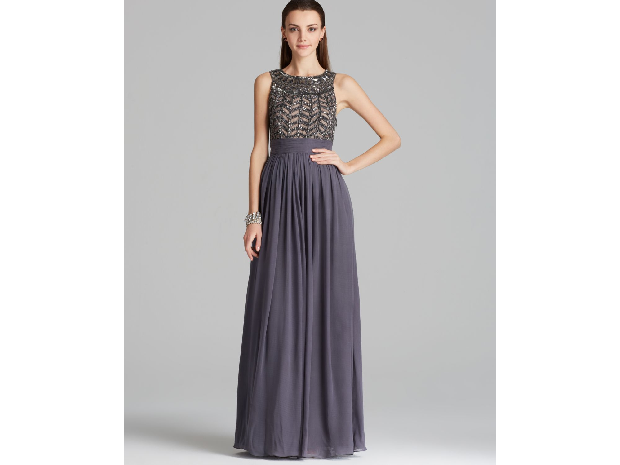 Js Collections Beaded Bodice Chiffon Gown Gladiator In