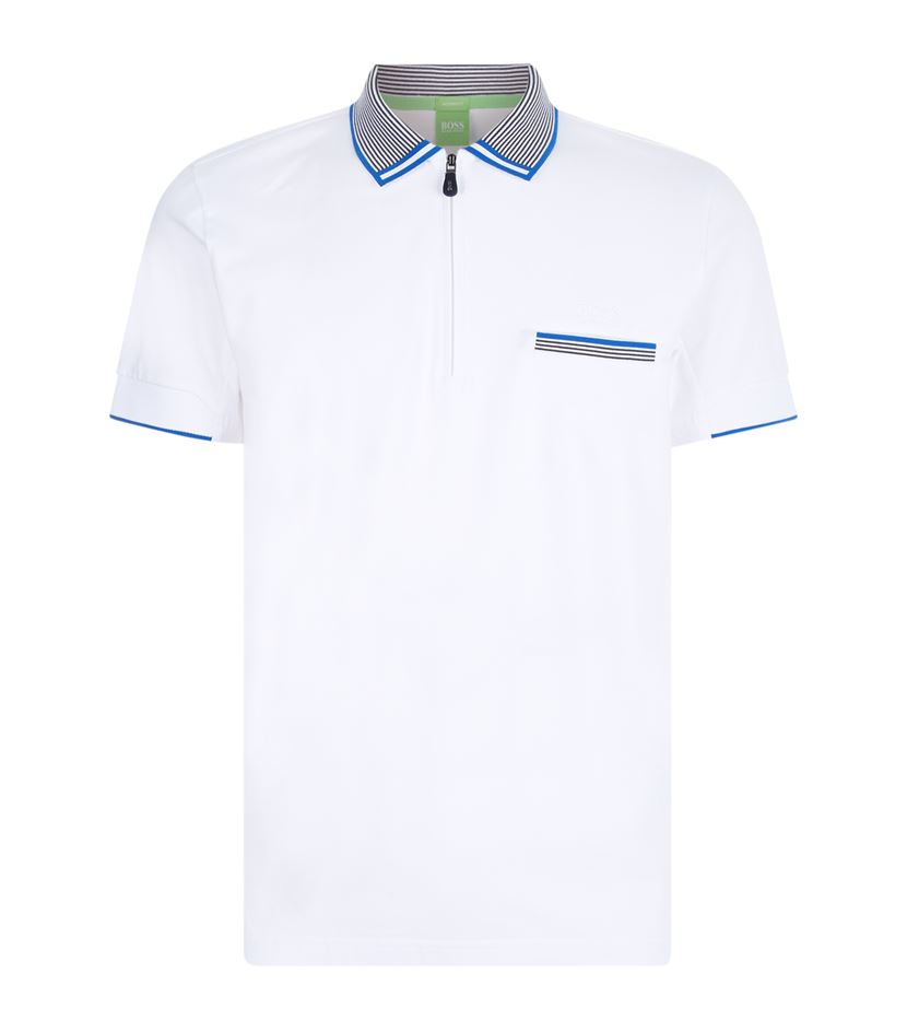 f6f2279b3 BOSS Green Felix Stripe Collar Polo Shirt in White for Men - Lyst