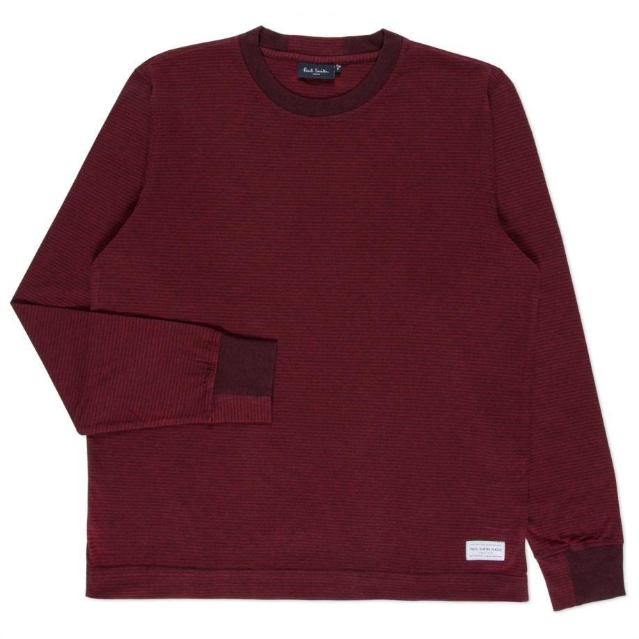 Lyst paul smith men 39 s burgundy tonal stripe long sleeve for Mens striped long sleeve t shirt
