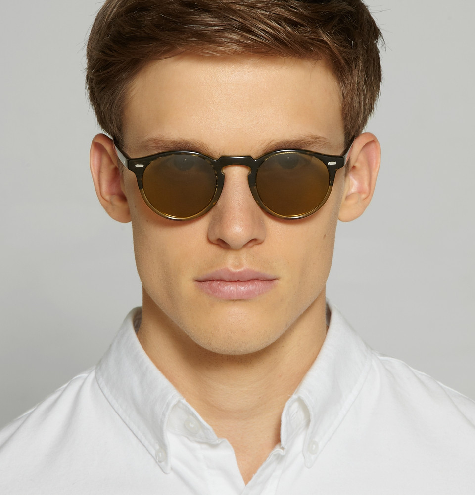 Oliver Peoples Gregory Peck Round Frame Acetate Sunglasses
