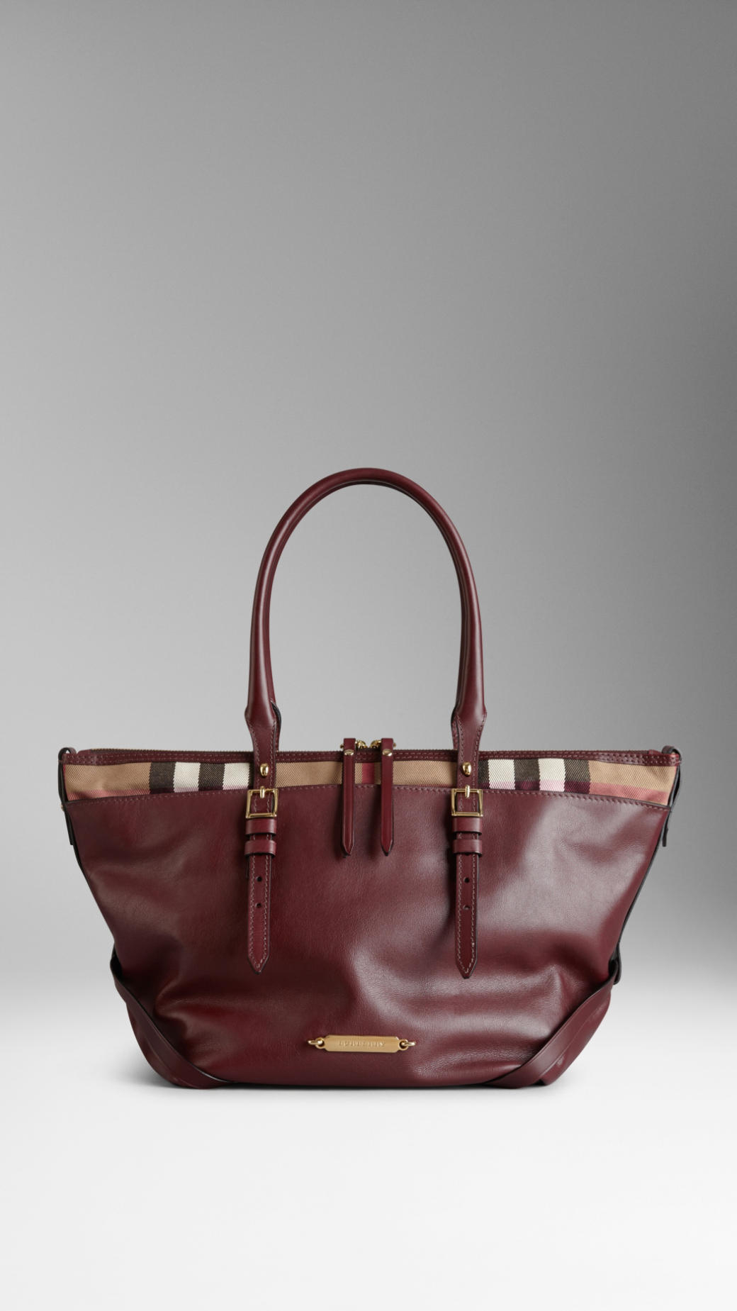 246f4218d237 Burberry Small Leather and House Check Tote Bag in Red - Lyst