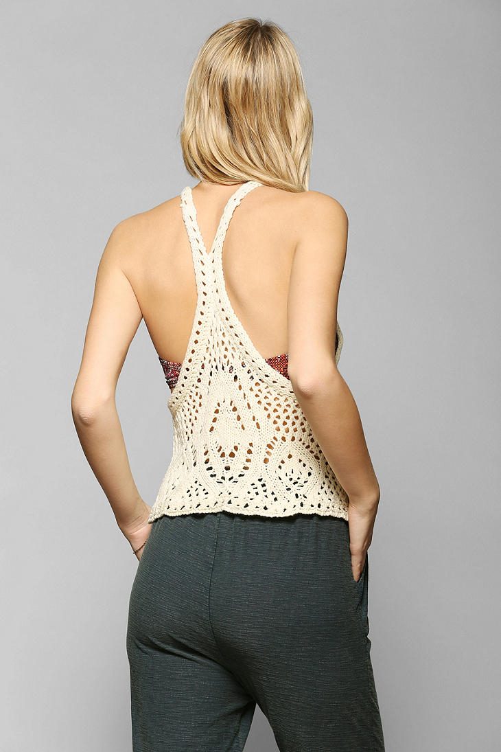 Staring at stars Open-Crochet Tank Top in White | Lyst