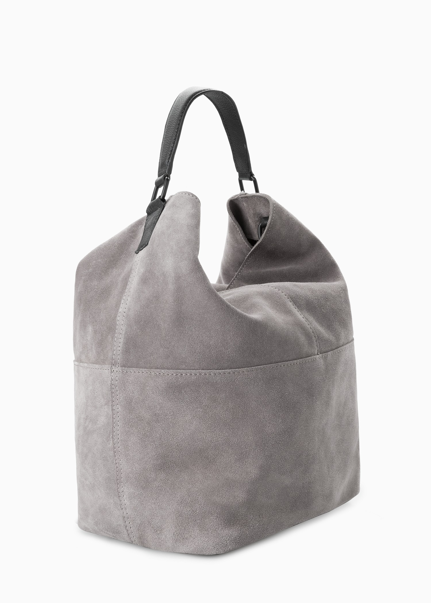 Mango Leather Hobo Bag in Gray | Lyst