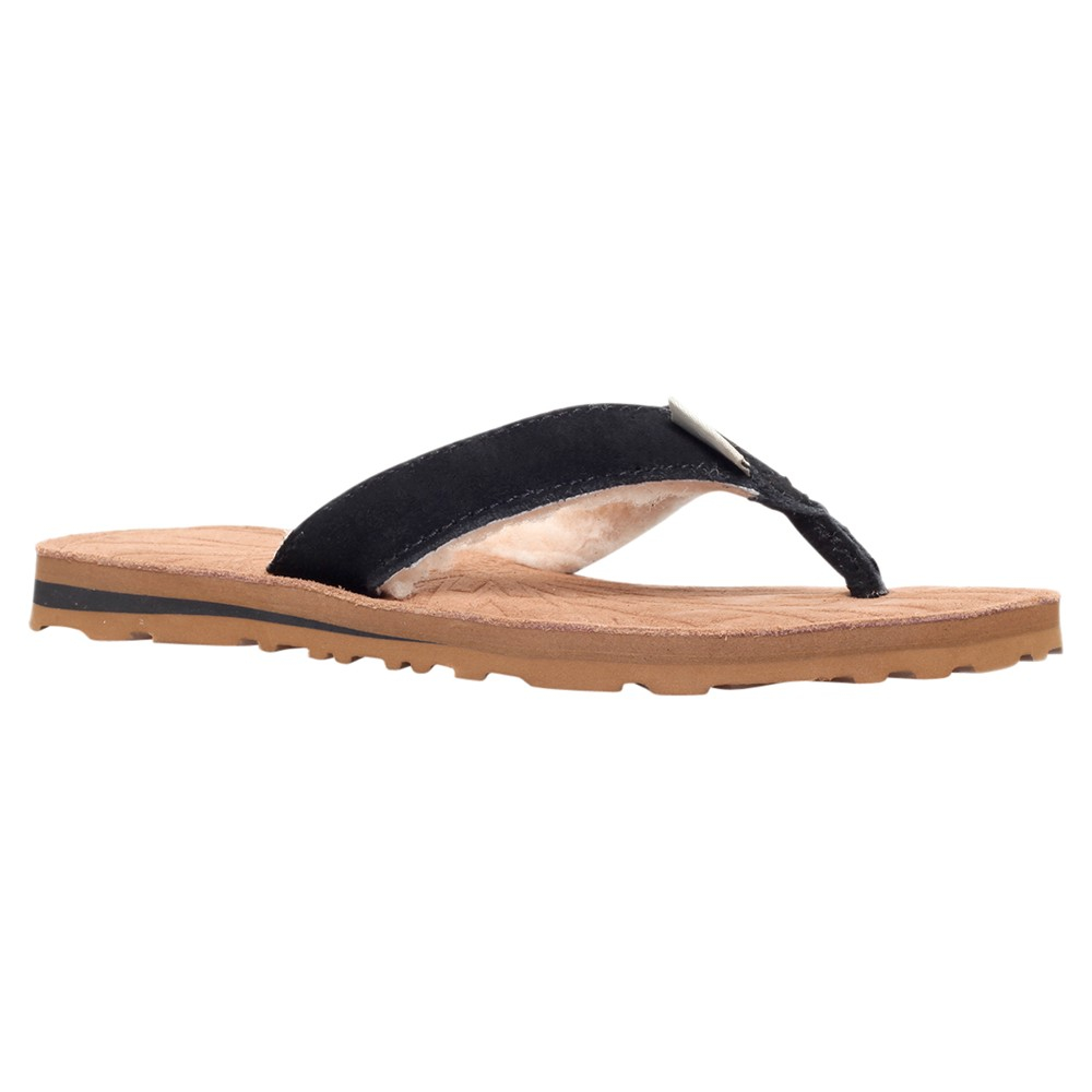 Ugg Tasmina Suede Flat Toe Post Flip Flops In Black  Lyst-9233