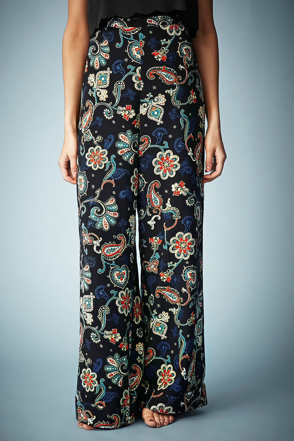 Topshop Paisley Print Wide Leg Trousers By Kate Moss For in Black ...