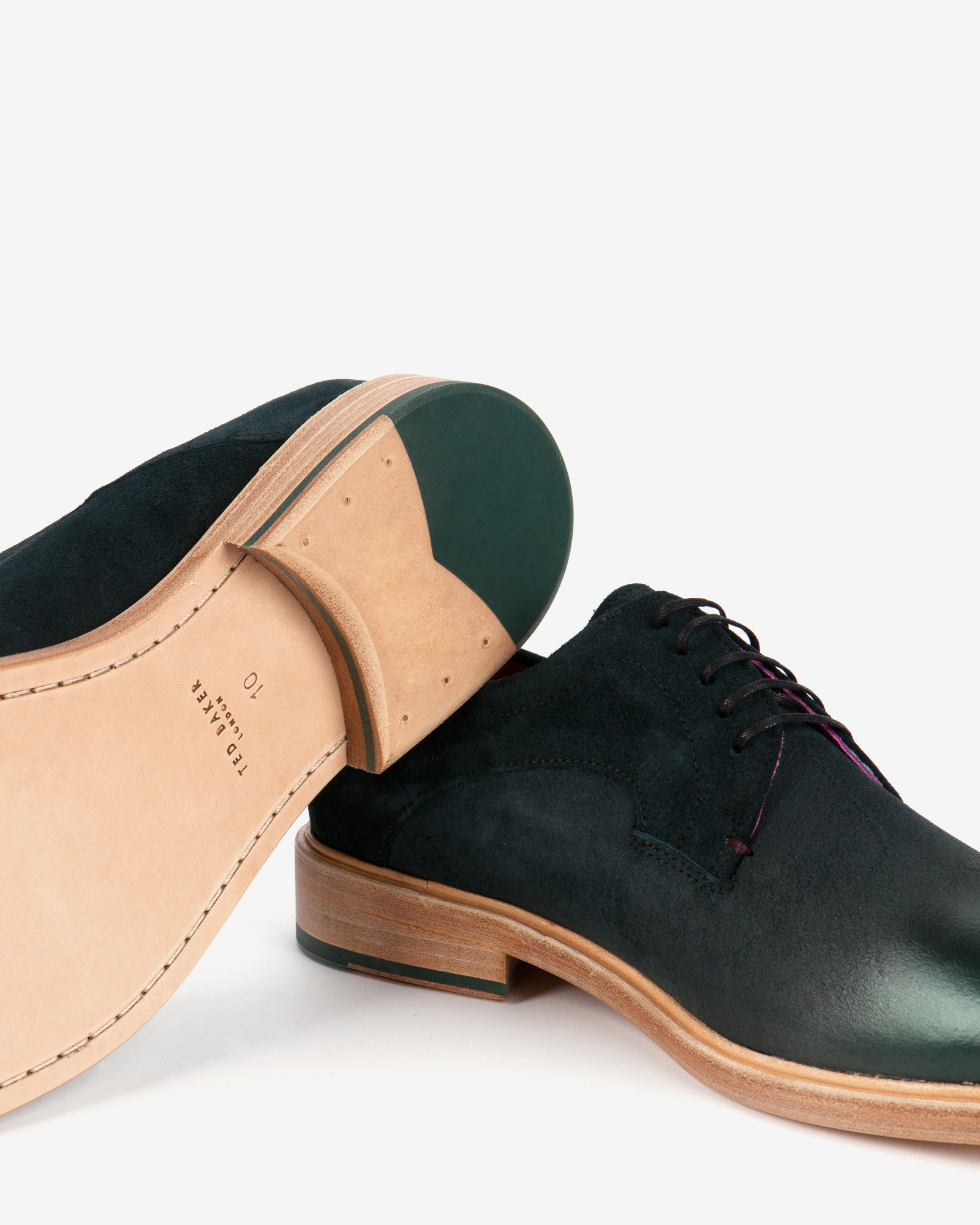 cfd3965b3105c9 Lyst - Ted Baker Metallic Gradient Suede Derby Shoes in Green for Men