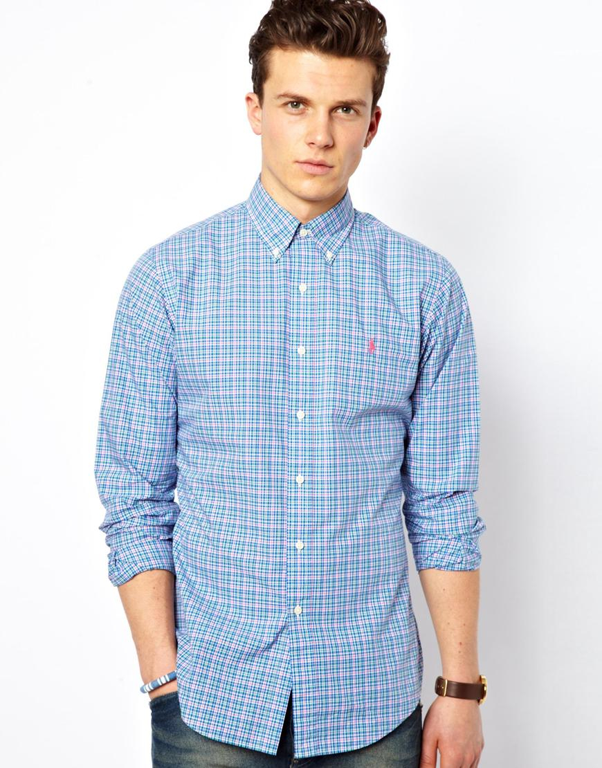 lyst polo ralph lauren shirt in madras check slim fit in blue for men. Black Bedroom Furniture Sets. Home Design Ideas