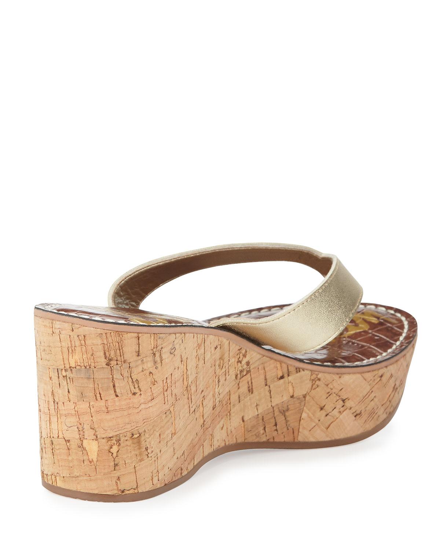 c15fd140e Lyst - Sam Edelman Romy Patent Leather Wedge Sandal in Natural