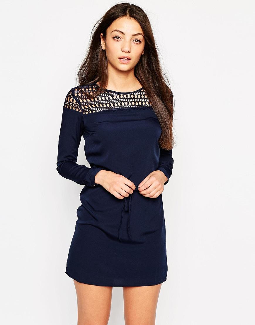 Vila Long Sleeve Tunic Dress With Crochet Neckline in Blue | Lyst