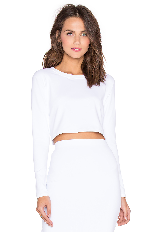 Lyst - Donna Mizani Long Sleeve Crop Top in White