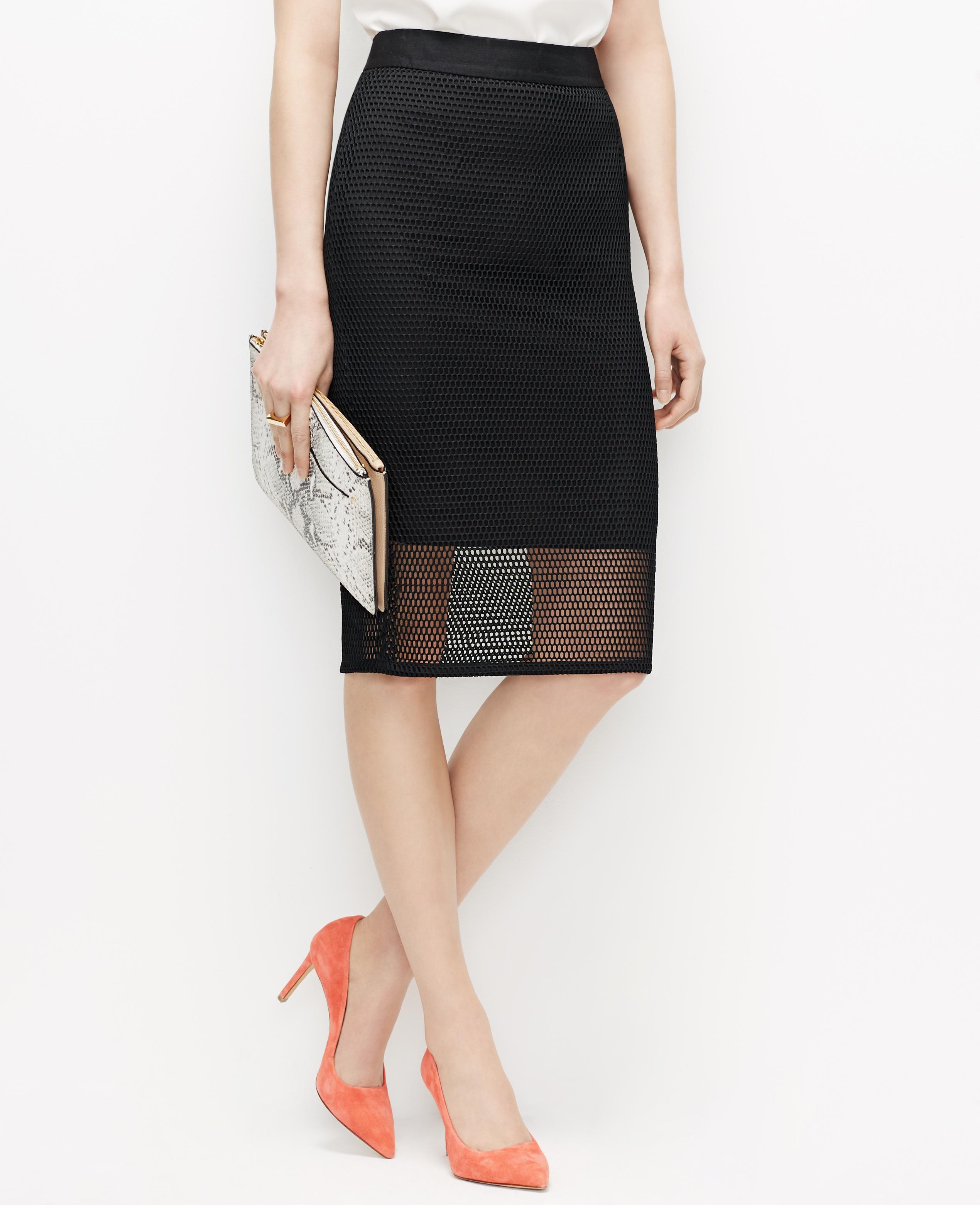 c8c5b47d2e Ann Taylor Mesh Pencil Skirt in Black - Lyst