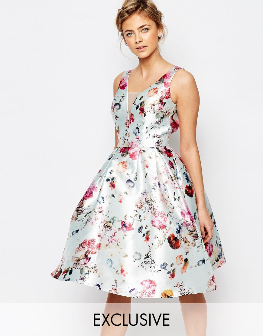a5e8e8d834 Lyst - Chi Chi London Plunge Skater Dress In Floral Print in Blue