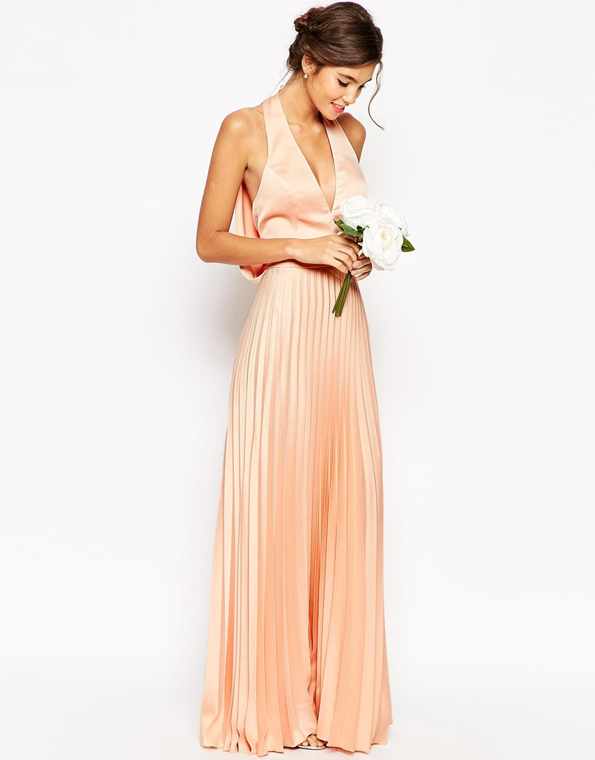Lyst asos wedding pleat deep plunge maxi dress in natural for Maxi dress at wedding