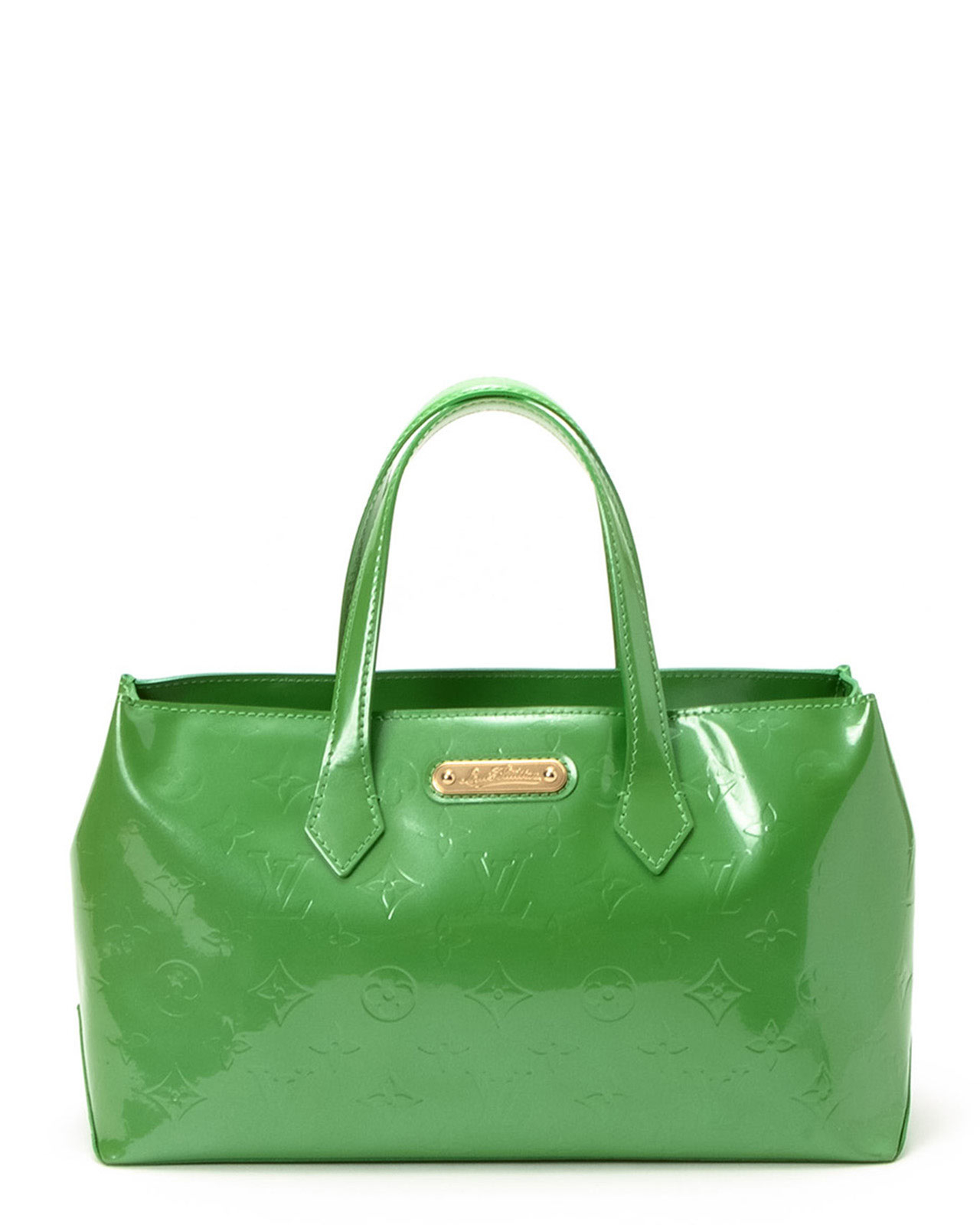 Louis vuitton Bright Green Vernis Wilshire Pm Handbag in Green | Lyst