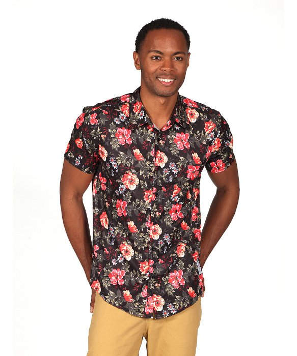 Lyst something strong men 39 s floral print short sleeve for Mens black short sleeve dress shirt