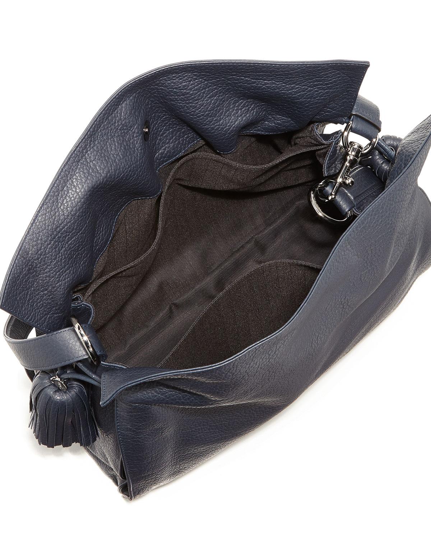 Loewe Flamenco 36 Calfskin Drawstring Bag Navy in Blue | Lyst