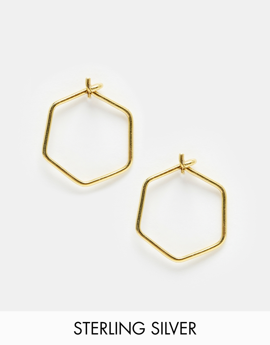 Lyst Asos Gold Plated Sterling Silver 12mm Hexagon Hoop