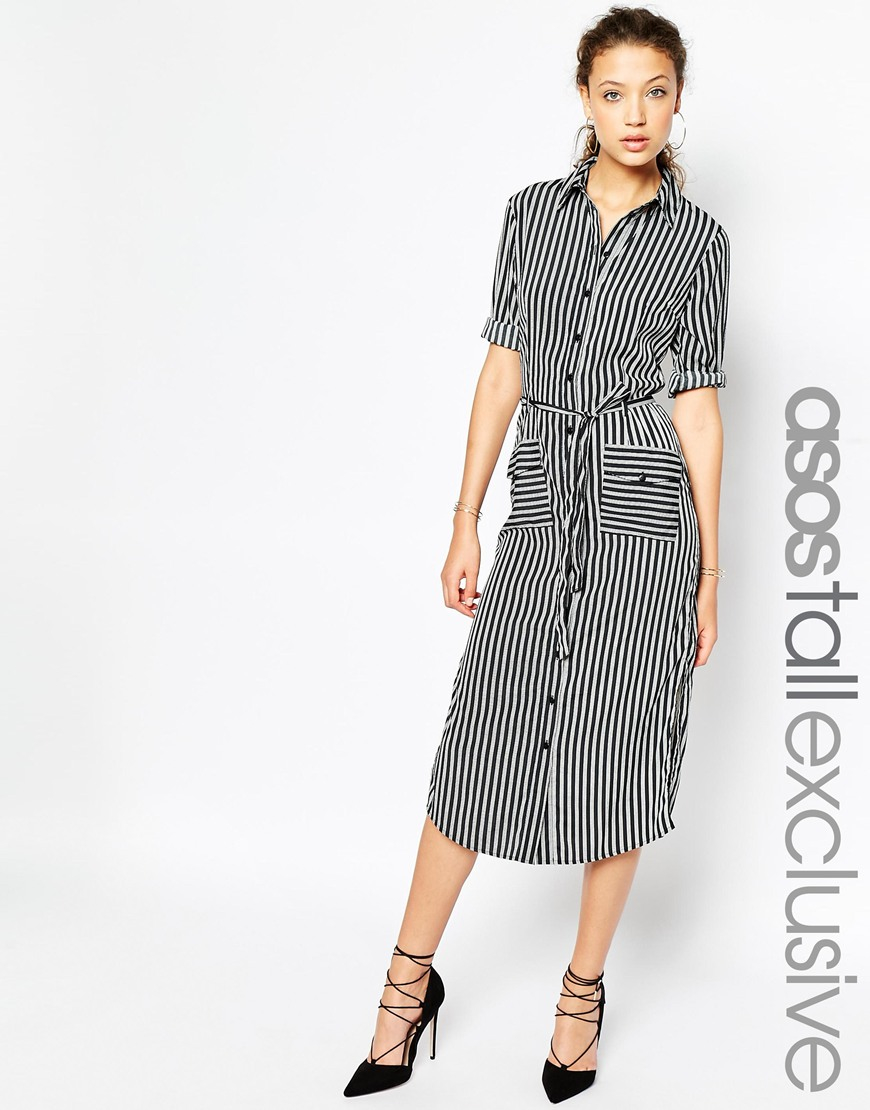 313b254853 Lyst - ASOS Tall Stripe Midi Shirt Dress With Belt in Black