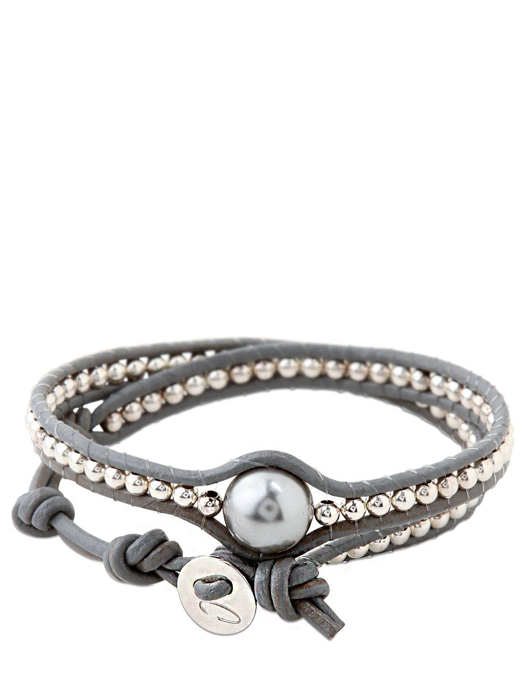 Black leather pearl wrap around fashion bracelet