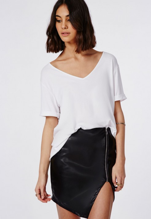 Missguided Alanis Faux Leather Asymmetric Zip Skirt Black in Black ...