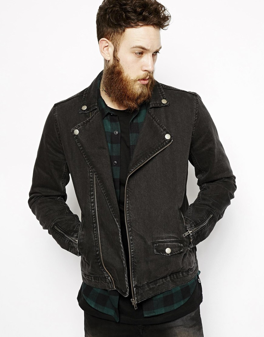 Asos Denim Biker Jacket in Black for Men