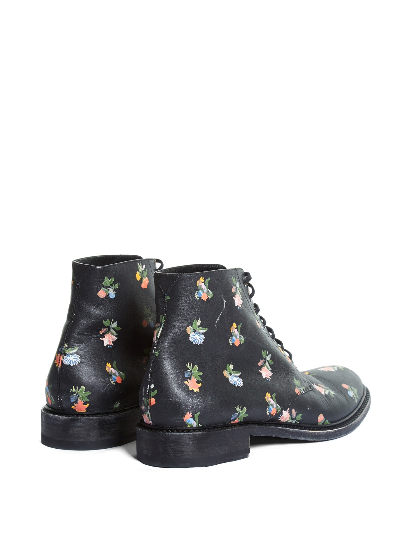 laurent floral print leather ankle boots lyst