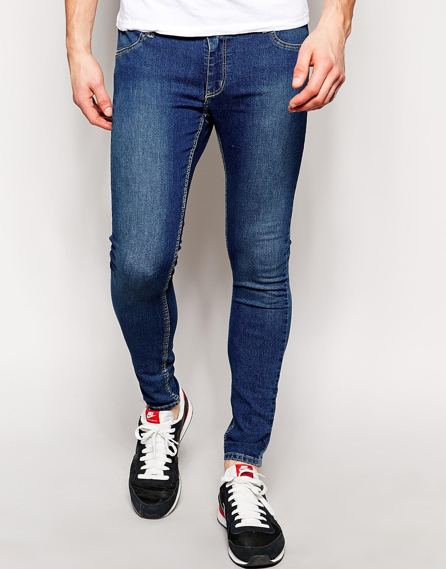 Cheap monday Jeans Low Spray Super Skinny Mid Blue in Blue for Men ...