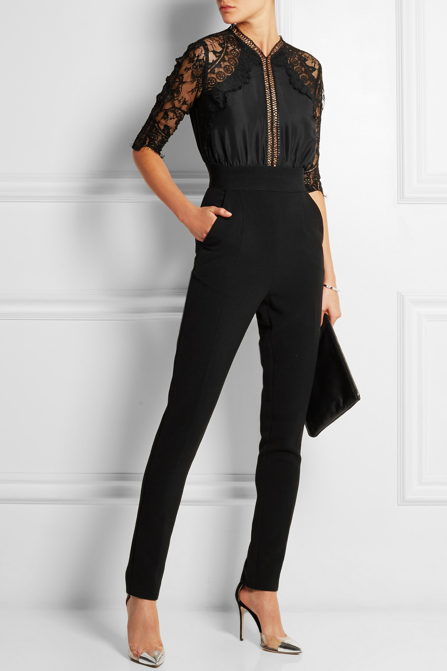 Self Portrait Embroidered Lace Paneled Woven Jumpsuit In