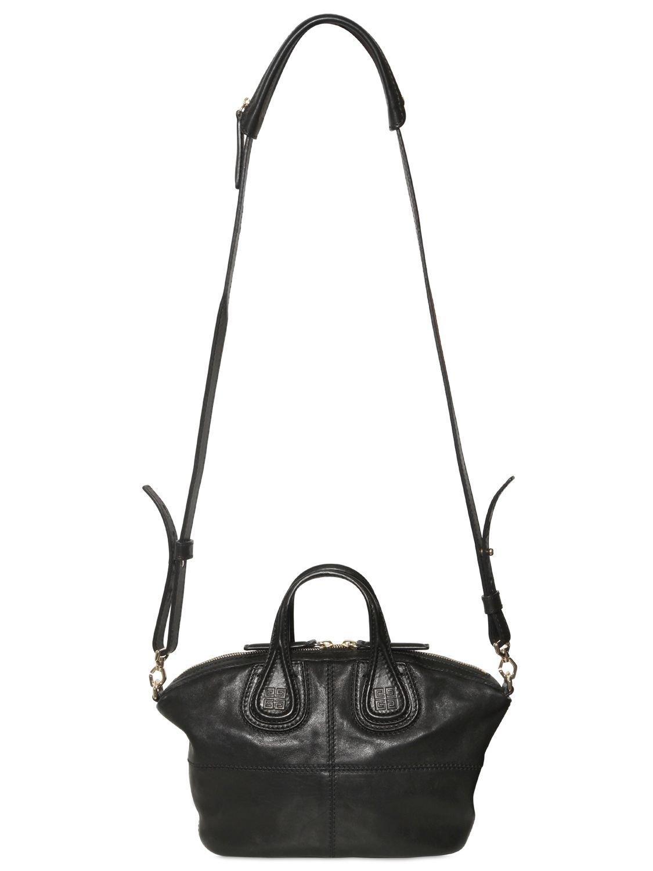 3dc65ac35b Lyst - Givenchy Mini Nightingale Zanzi Leather Bag in Black