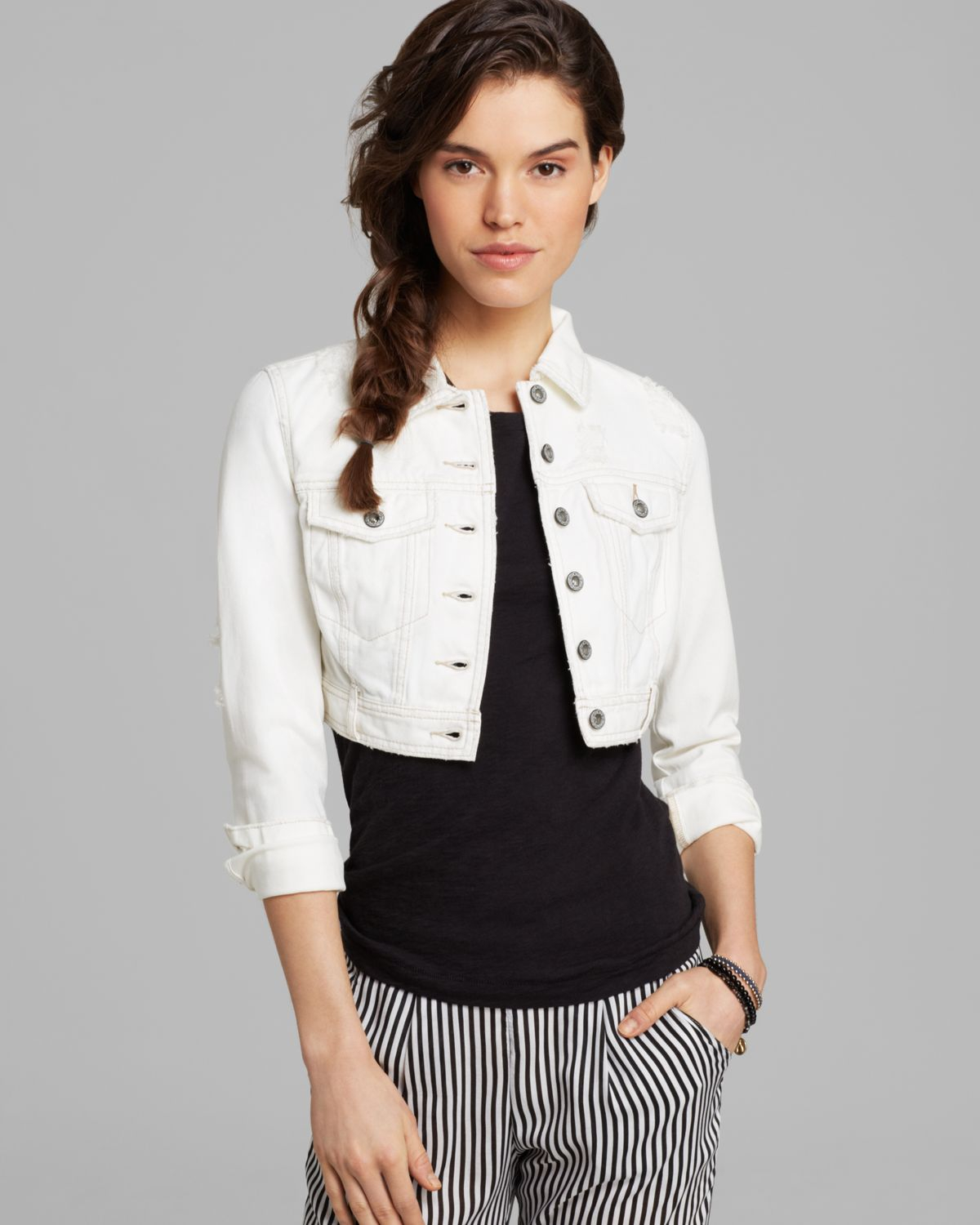 Free people Jacket Cropped Denim in White | Lyst