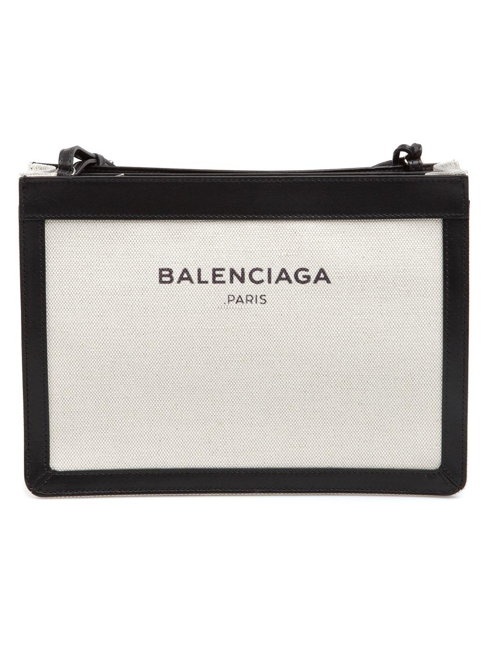 Balenciaga Logo Print Shoulder Bag In Black Lyst