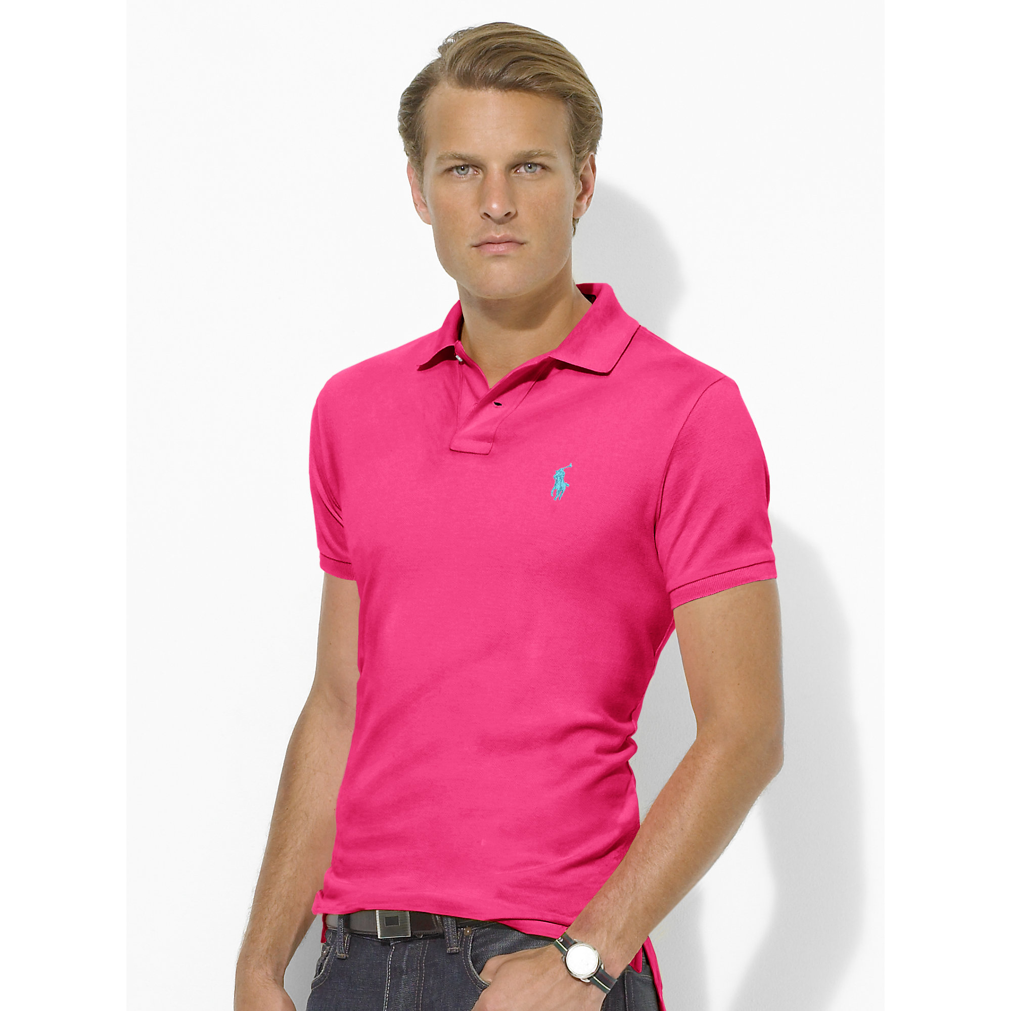 Polo ralph lauren Custom-fit Mesh Polo Shirt in Pink for Men | Lyst