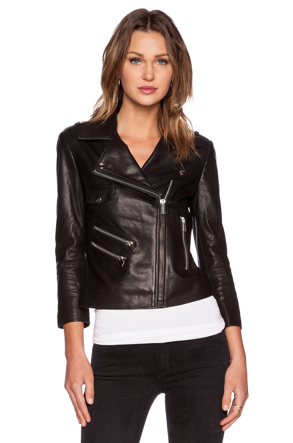 Anine bing Cropped Leather Jacket in Black | Lyst