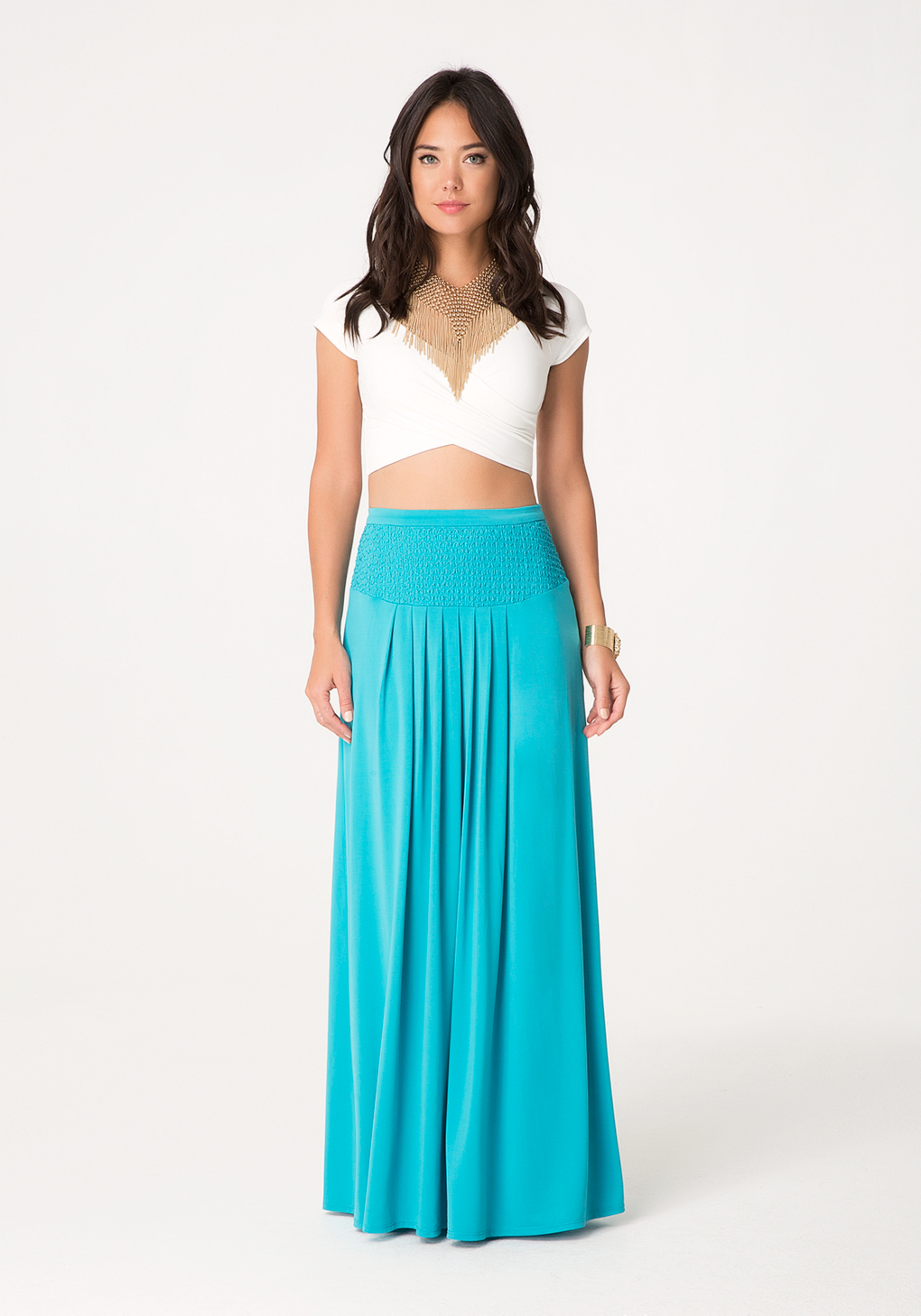 Bebe Petite Pleated Maxi Skirt in Blue | Lyst