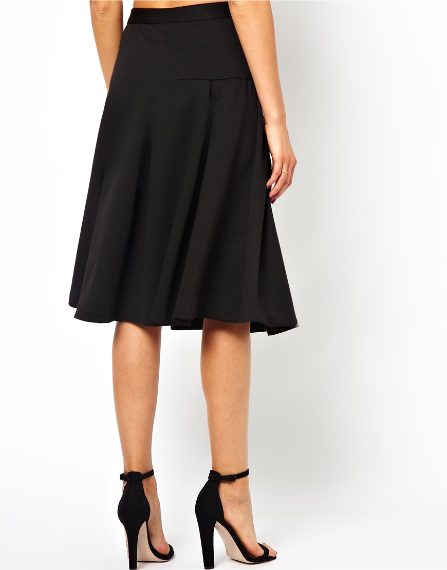 aaf97e242 ASOS Asos Midi Skirt with Drop Waist and Pleats in Black - Lyst