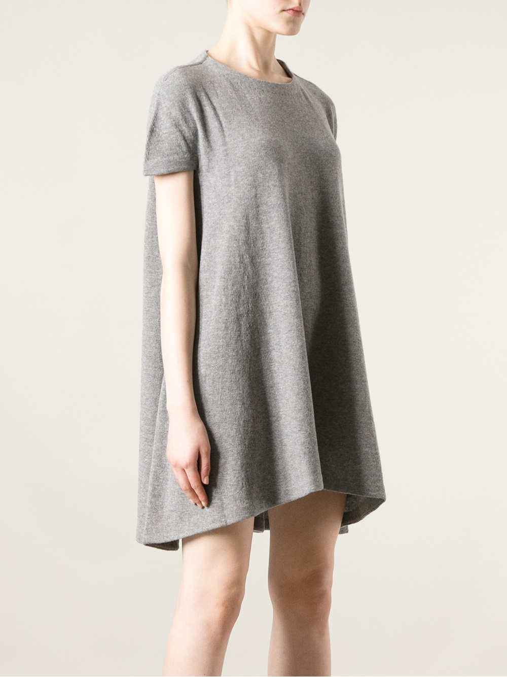balenciaga loose fit t shirt dress in gray lyst