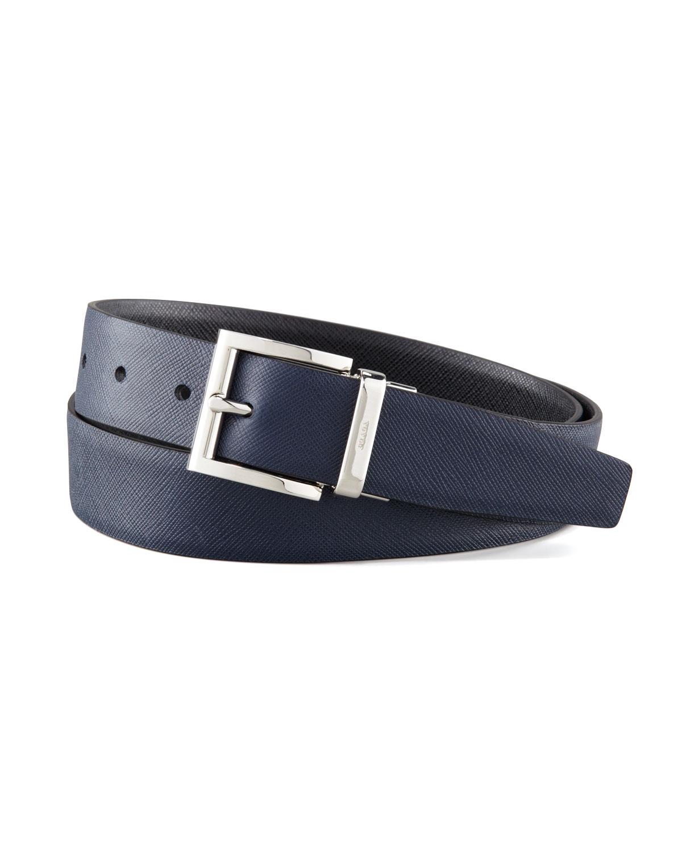 Prada Saffiano Leather Reversible Belt In Blue For Men