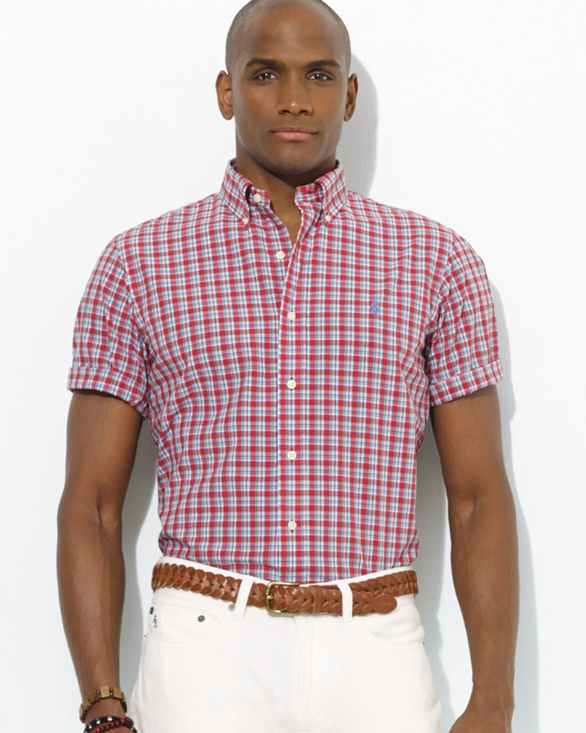 Ralph lauren Polo Custom Short-Sleeved Plaid Poplin Button Down ...