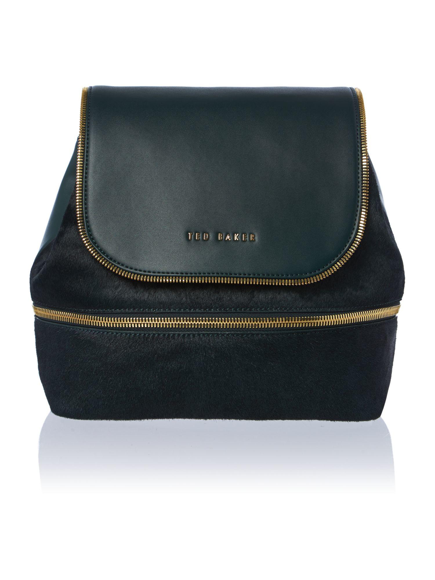 ted baker breanna dark green pony backpack in green for. Black Bedroom Furniture Sets. Home Design Ideas