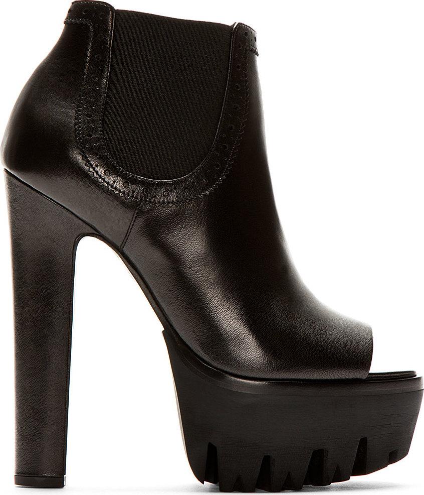Versus Black Open Toe Platform Ankle Boots In Black Lyst