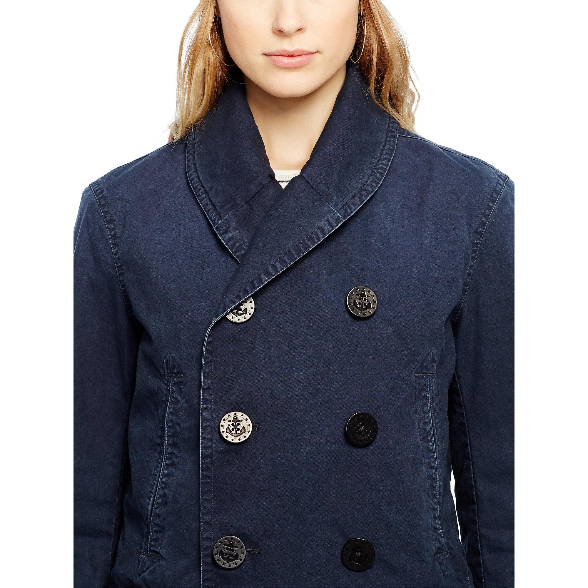 Lyst Polo Ralph Lauren Shawl Collar Pea Coat In Blue